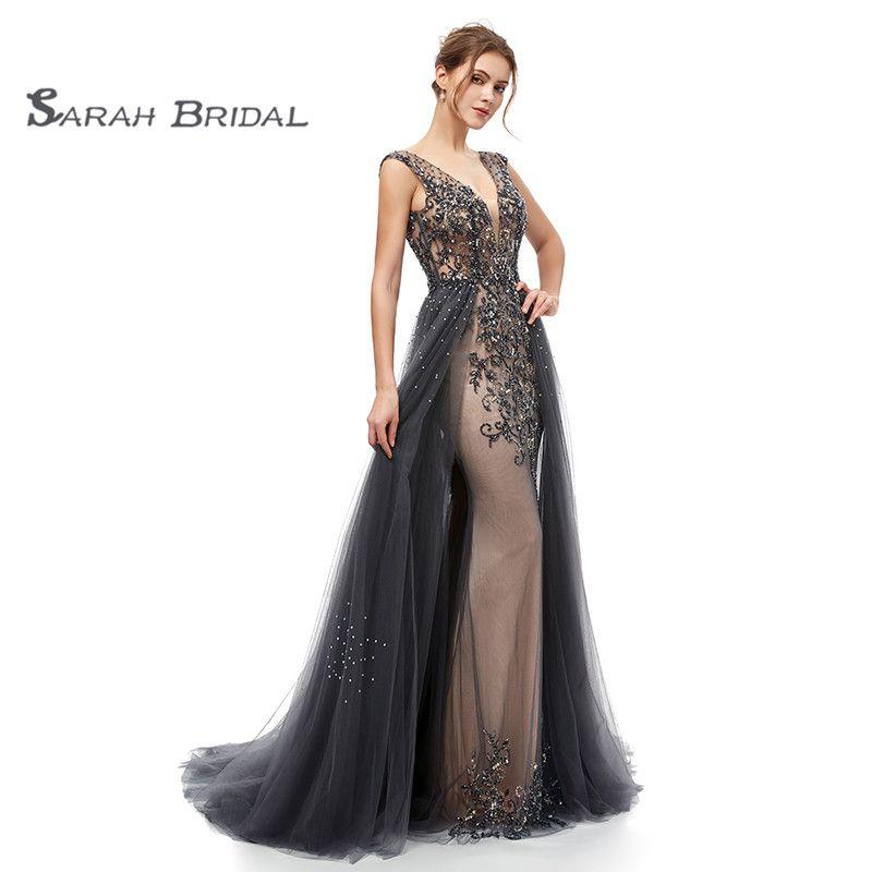 Темно-синий Sexy Beach Luxury Prom свадебные платья 2019 Boho глубокий V-образным вырезом спинки оболочка свадебное платье с Overskirt Vestido де Noiva 5406