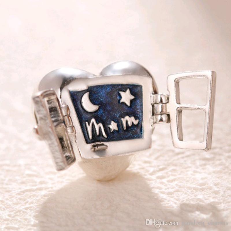 Perline smaltate Bracciali Pandora Blu Creazione di gioielli Fascino a cuore 100% in argento sterling 925