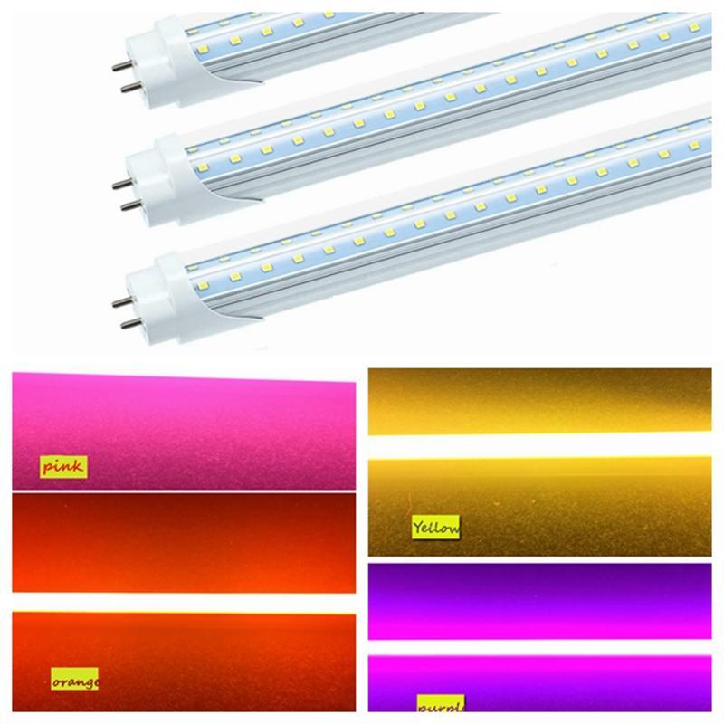 "T8 48 ""인치 LED 컬러 조명 4피트 G13 V 형 LED 튜브 빨강 파랑 초록 노랑 오렌지 핑크 퍼플 컬러 형광등 교체 램프"