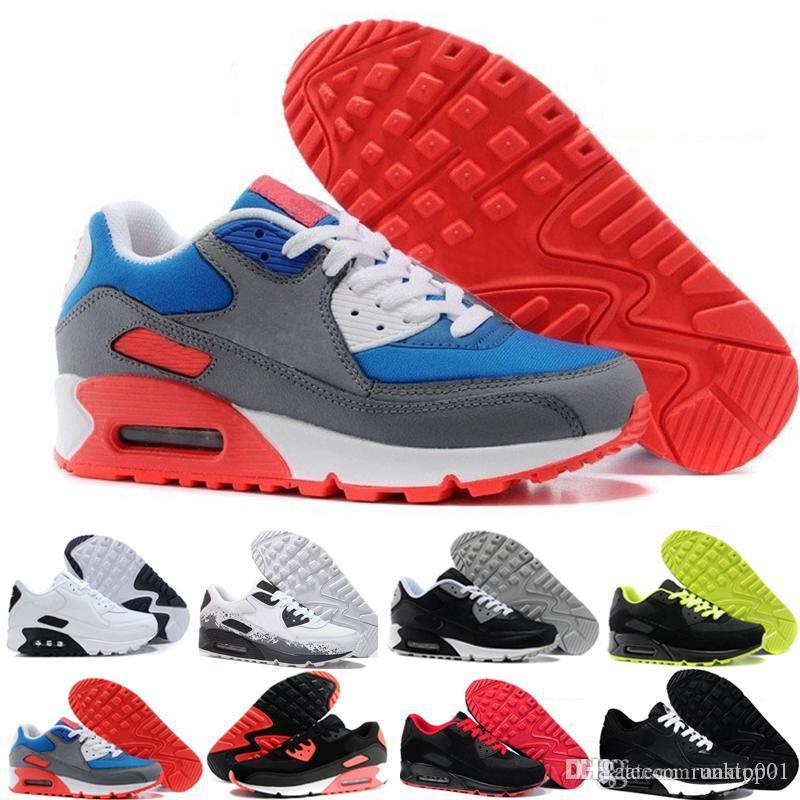 nike air max 90 90s airmax Mens sapatos clássicos homens e mulheres sapatos Black Red Branco instrutor Air Cushion superfície respirável calçados casuais 36-45 SER6G