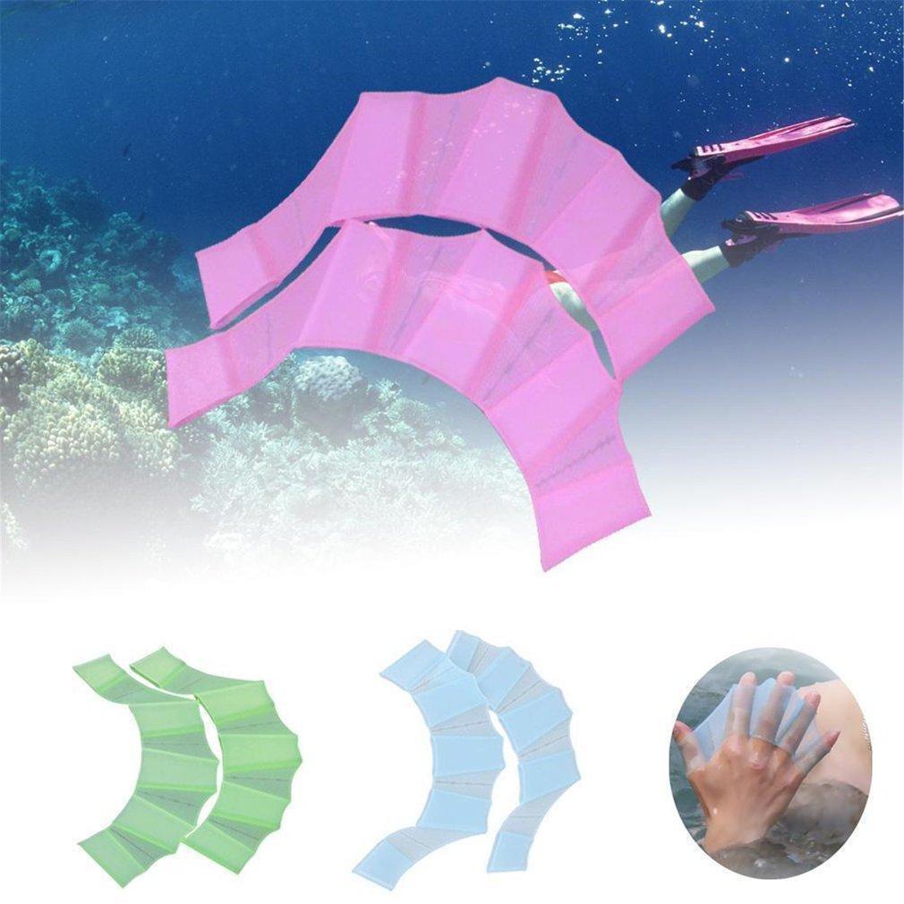 De silicona suave Swim engranaje Aletas Mano Web Aletas de entrenamiento Guantes de buceo Guantes palmeados para Suministros hombres de las mujeres de natación Niños