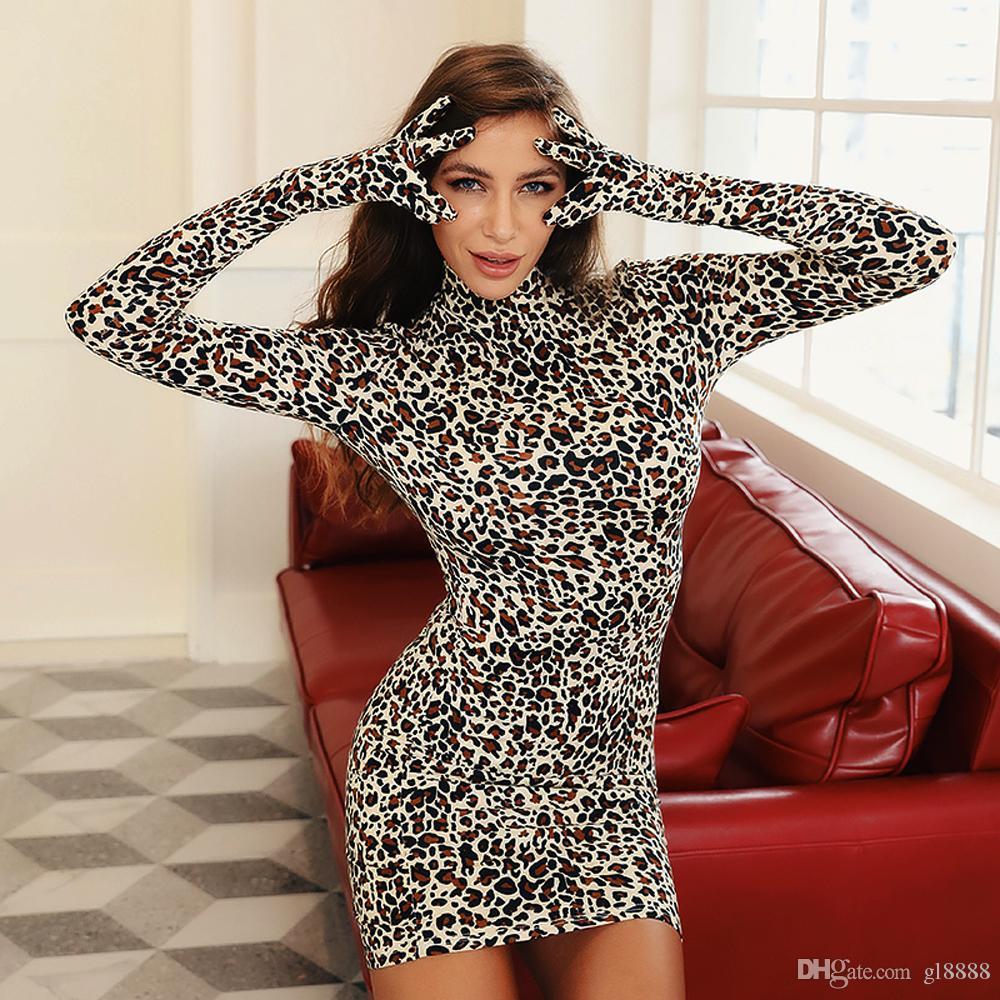 Сексуальные женщины Bodycon мини платье с длинным рукавом Leopard перчатки Slim Fit партии Clubwear