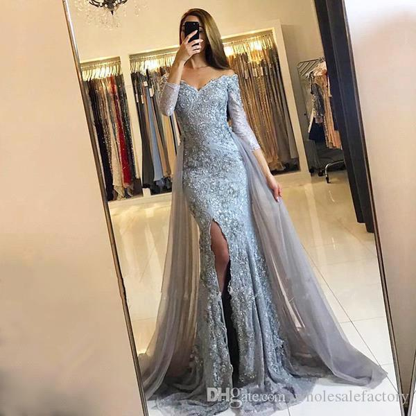 Elegant Off The Shoulder Lace Prom Dresses Long Sleeves High Split Floor length Evening Dresses With Tulle Over Skirts BA6240