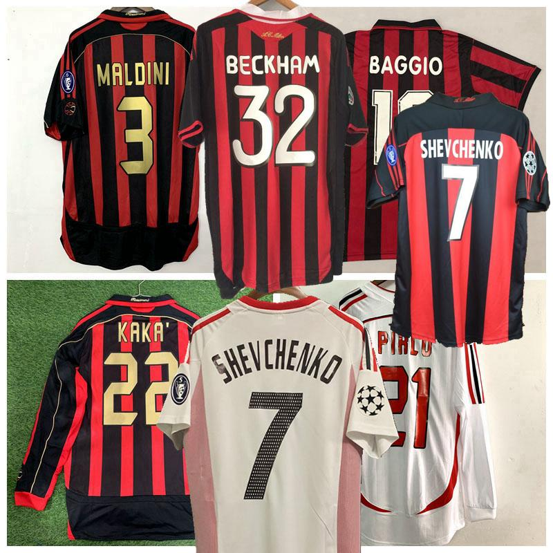 Retro 1991 1996 2000 01 02 03 04 2006 2007 Milan camisetas de fútbol camisa clásica de fútbol INZAGHI PIRLO MALDINI KAKA SHEVCHENKO CA 09/10 retro