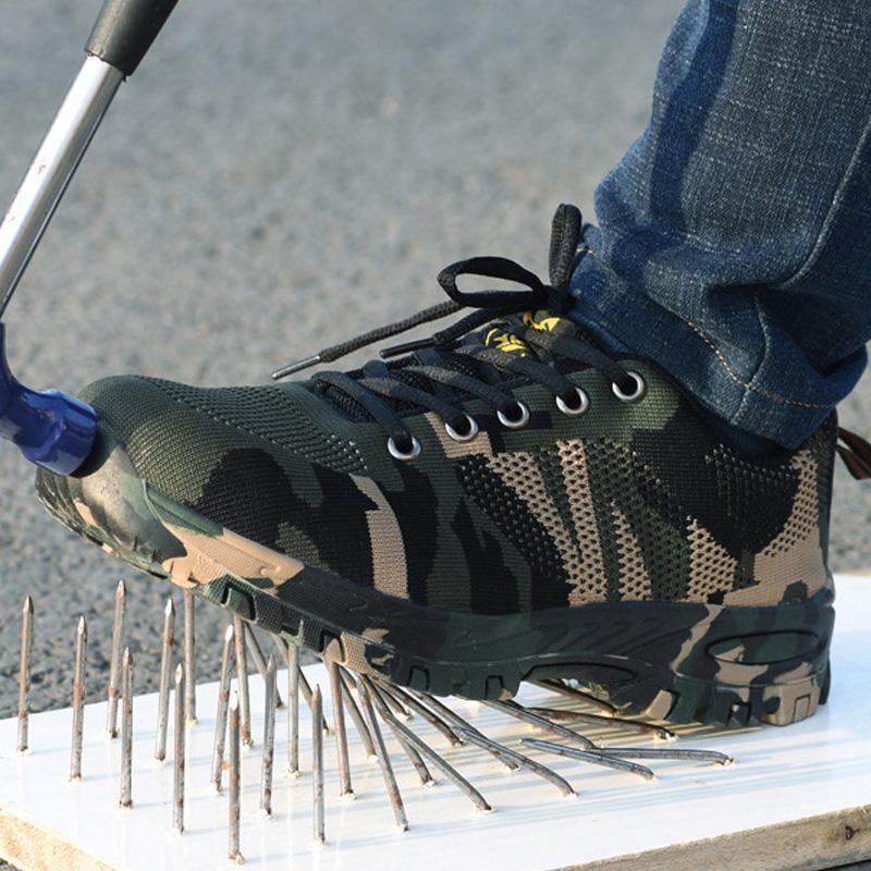 Zapatos de seguridad de trabajo Botas Hombre de acero del dedo del pie Botas de Trabajo antipinchazo Zapatos indestructible masculino de arranque para adultos