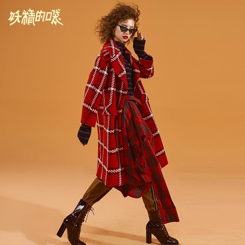 ELF SACK Зима теплая женщина Шерстяные пальто с длинным рукавом плед воротник отложной Женщины Куртки Широкий талией Femme однобортный Пальто