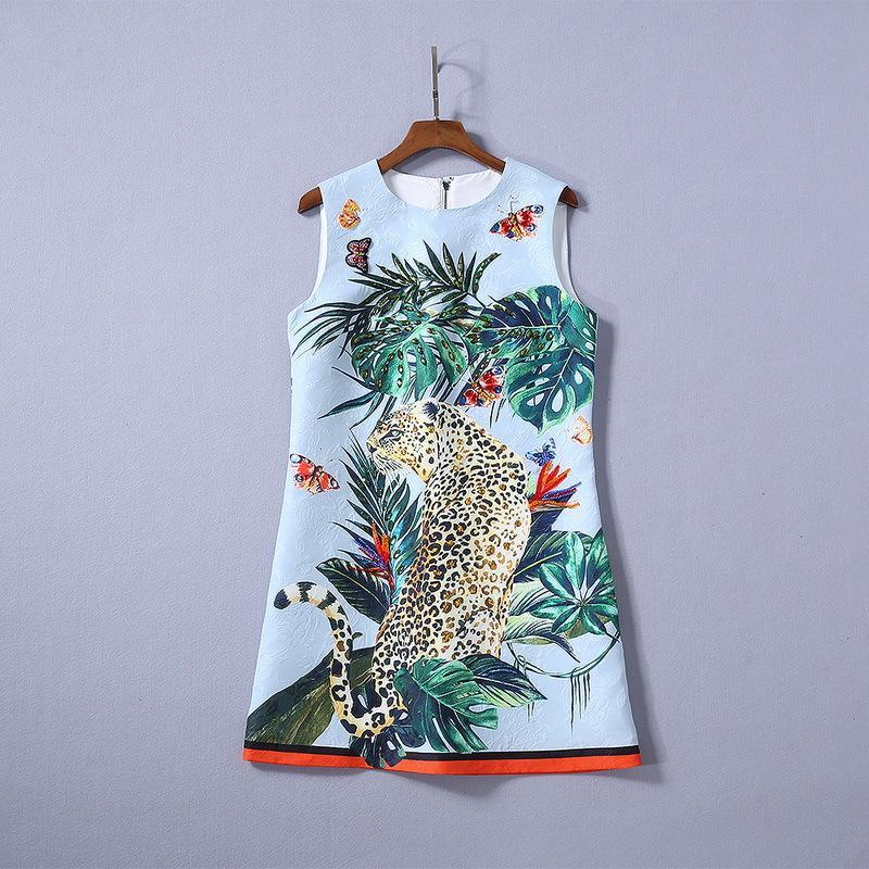 moda satış yaz toptan pist yeni sıcak Hign Sonu Mürettebat boyun Kolsuz Kasetli Baskı hayvan desenli seksi Günlük Elbise ins
