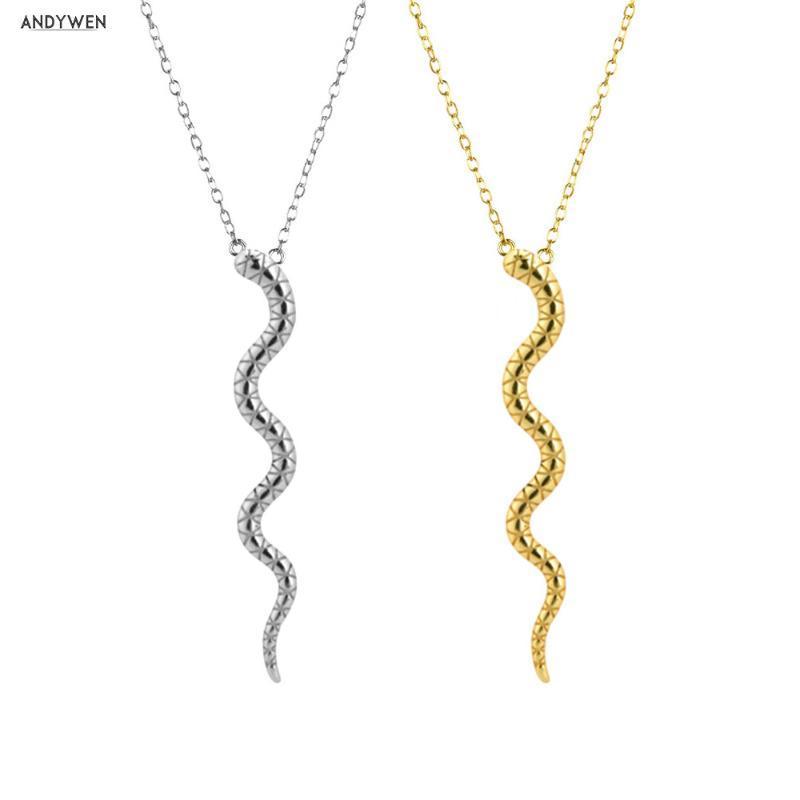 ANDYWEN argento 925 del serpente dell'oro Donne lunga catena di lusso Animal speciale Roccia monili punk Dichiarazione europea
