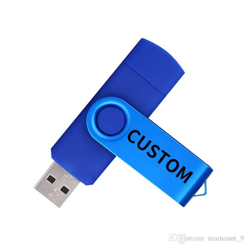 Wholesale Custom Votre logo OTG Clé USB 4GB 8GB 32GB 64GB 128GB Haute Qualité USB 2.0
