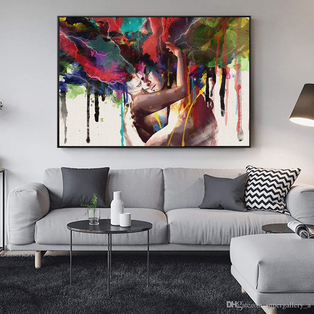 Couple d'amoureux décoration de la maison maison mur Art Decor peint à la main HD Imprimer peinture à l'huile sur toile mur Art Toile photos 190907