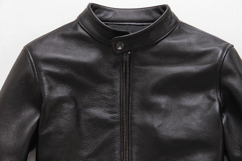 Gerçek Deri Ceket Erkek Gerçek Sheepskin Deri Ceket İlkbahar Sonbahar Motosiklet Dış Giyim Casaco Masculino 11 MF031