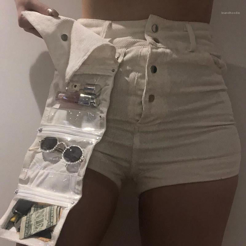Tasche Shorts femmine Abbigliamento Donna Designer multi tasca dei pantaloncini di colore di modo del velluto a coste Naturale pantaloni casual staccabile