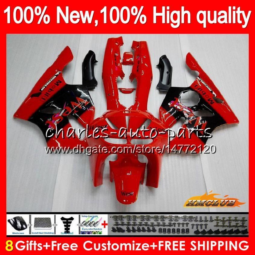 Body For KAWASAKI ZX 636 600CC ZX-636 ZX6R 94 95 96 97 50HC.5 ZX636 ZX-6R ZX600 ZX 6 R 6R red west hot 1994 1995 1996 1997 Full Fairing kit