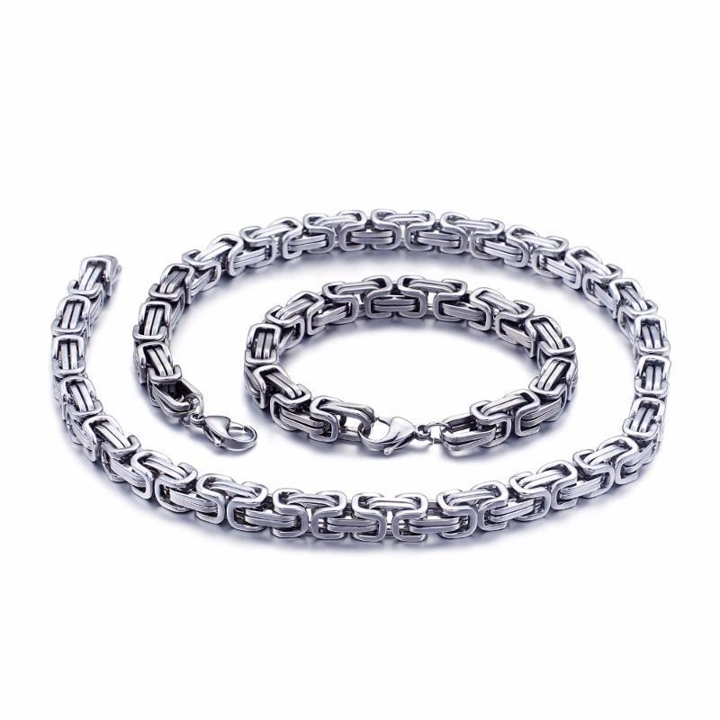 5MM / 6MM / 8MM واسعة الفضة الفولاذ المقاوم للصدأ الملك البيزنطية سلسلة قلادة سوار مجوهرات رجالي اليدوية