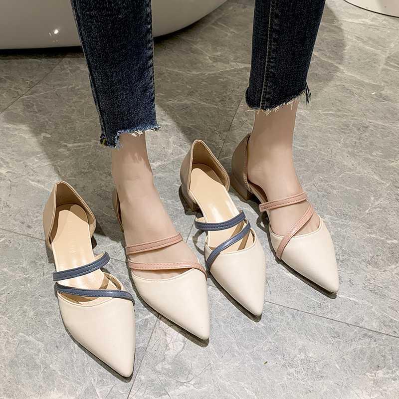 haber ilkbahar yaz kadın ayakkabı sığ ağızlı kemer ayakkabı içi boş rahat sandalet 35-39 işaret etti
