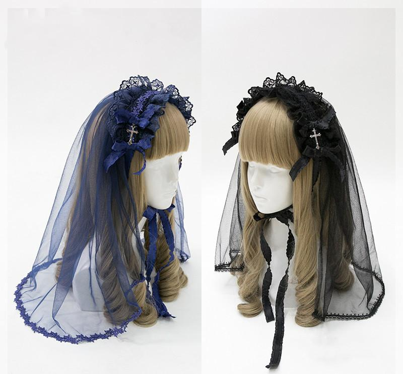 Yeni Gotik Dantel Kafa Çapraz Şapkalar Bow Firkete Lüks Vintage Cosplay Lolita Çiçek Veil Saç Aksesuarları Headdress
