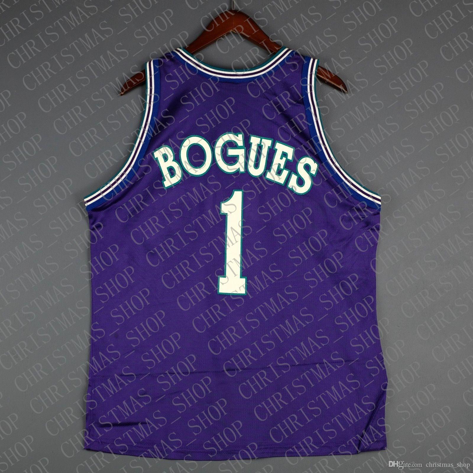 % 100 Dikişli Muggsy Bogues Şampiyonu Jersey Erkek Toptan Jersey Erkek Yelek Boyut XS-6XL Dikişli basketbol Formalar Ncaa