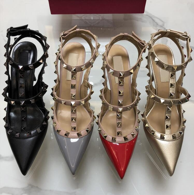 뜨거운 판매 -A9 특허 가죽 여성 발목 버클 숙녀 섹시 리벳 하이힐 네온 컬러 드레스 신발