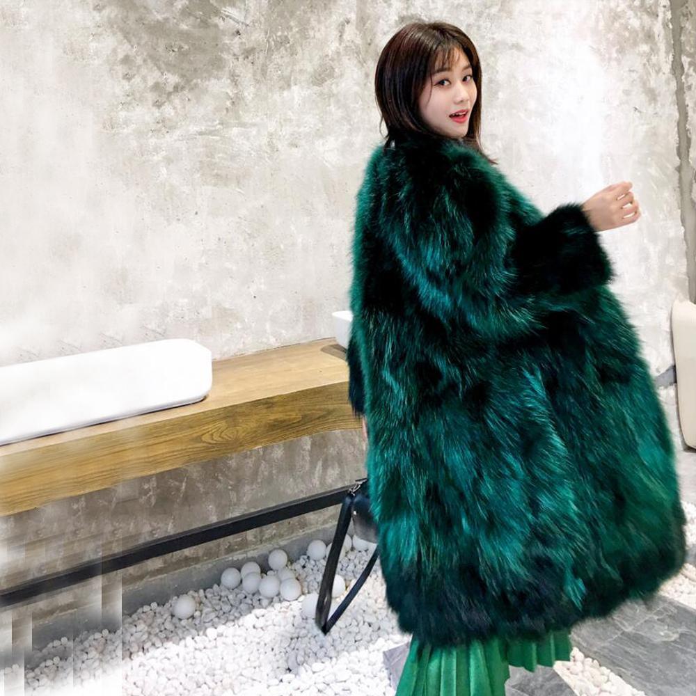 X длинное пальто дамы истинная подлинная настоящая енотовая шуба Заводская розетка оптовая цена скидка плюс размер настроить ksr373 T191115