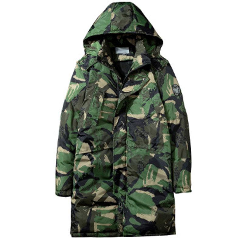 2018 new winter coat men's long section thick down cotton pad youth trend men's camouflage coat GB007