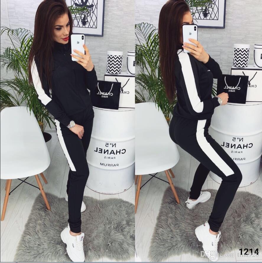 2 cores Mulheres de duas peças terno Set Sports Blusas femininas Calças de cintura alta Long 2 PCS carta primavera Impresso Treino Moda Outono Roupa