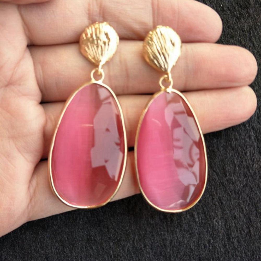 Розовый зеленый прозрачный капли воды мотаться серьги Bijoux Femme женские ювелирные изделия длинные серьги для женщин букле d'oreille подарок