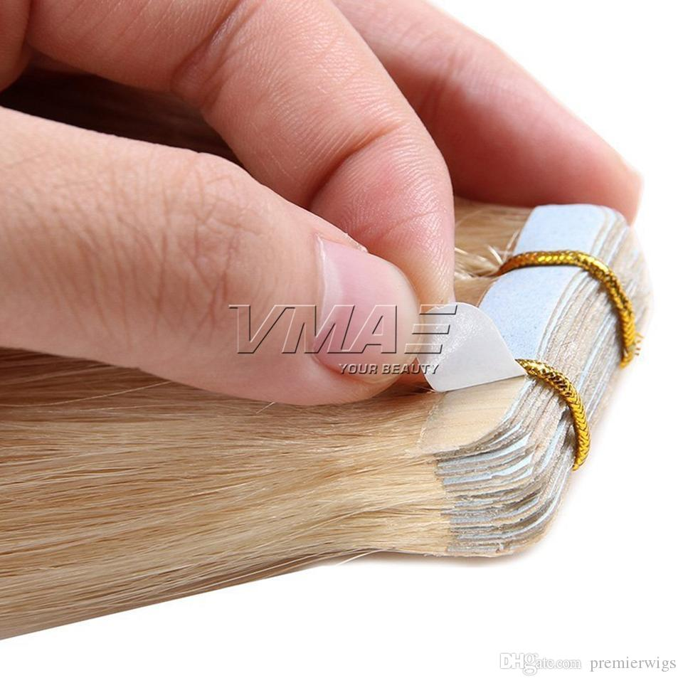تعادل ضعف البرازيلي مستقيم 40Pieces / حزمة 100G 120G وشقراء اللون الطبيعي للبشرة اللحمة 14-26 بوصة الشريط في الشعر التمديد
