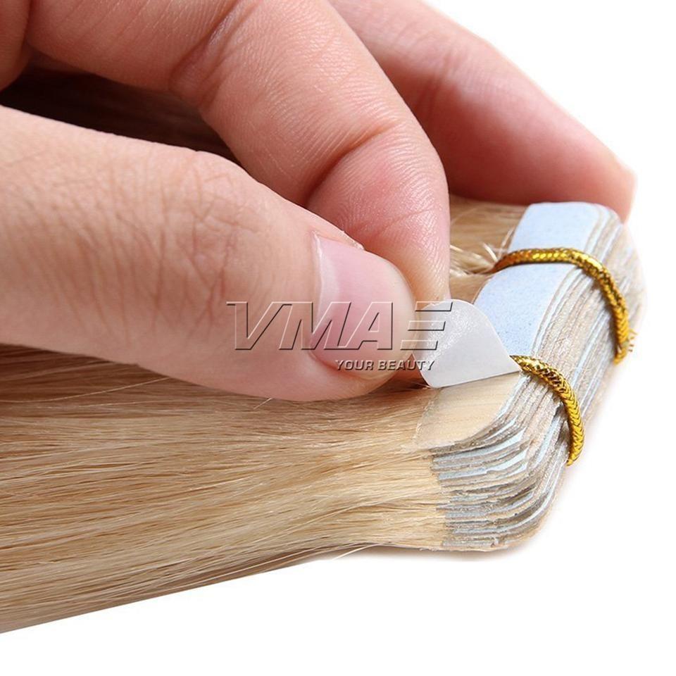 Duplo desenhado brasileiro em linha reta 40 peças / pacote 100g 120g loira cor natural pele trama de pele 14-26 polegadas na extensão do cabelo