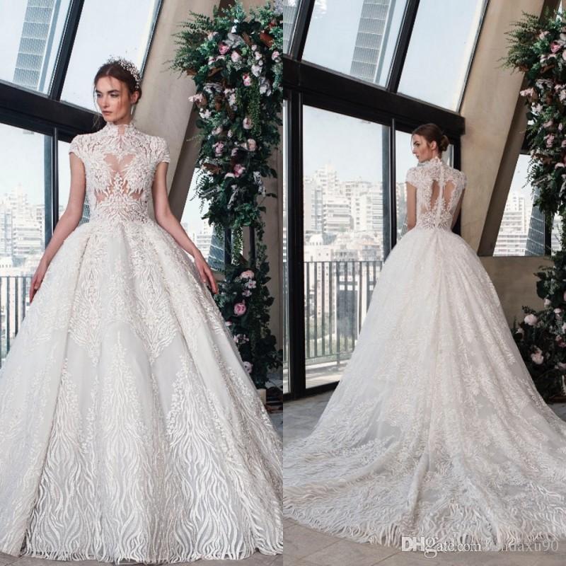 Tony Ward Wedding Dresses 2019 New Lace Appliqued High Neck Short Sleeve Wedding Dress Modest A Line Plus Size Bridal Gowns