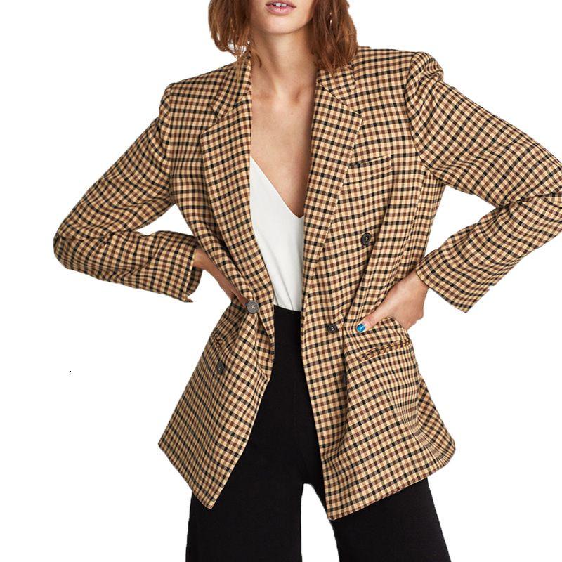 2019 mulheres primavera jaqueta casual cáqui casaco xadrez das mulheres roupas de manga comprida mulheres casaco V191209