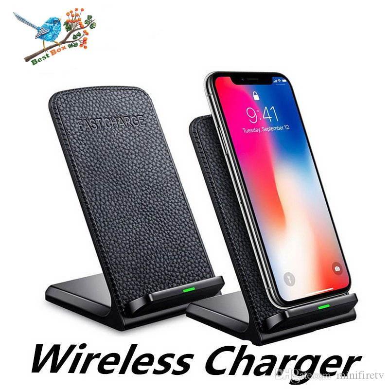 2 bobinas Qi cargador rápido de carga inalámbrica rápida del cojín del soporte para el iPhone 11 X 8 X para el iPhone 8Plus 8 para Samsung Galaxy S8 smartphones