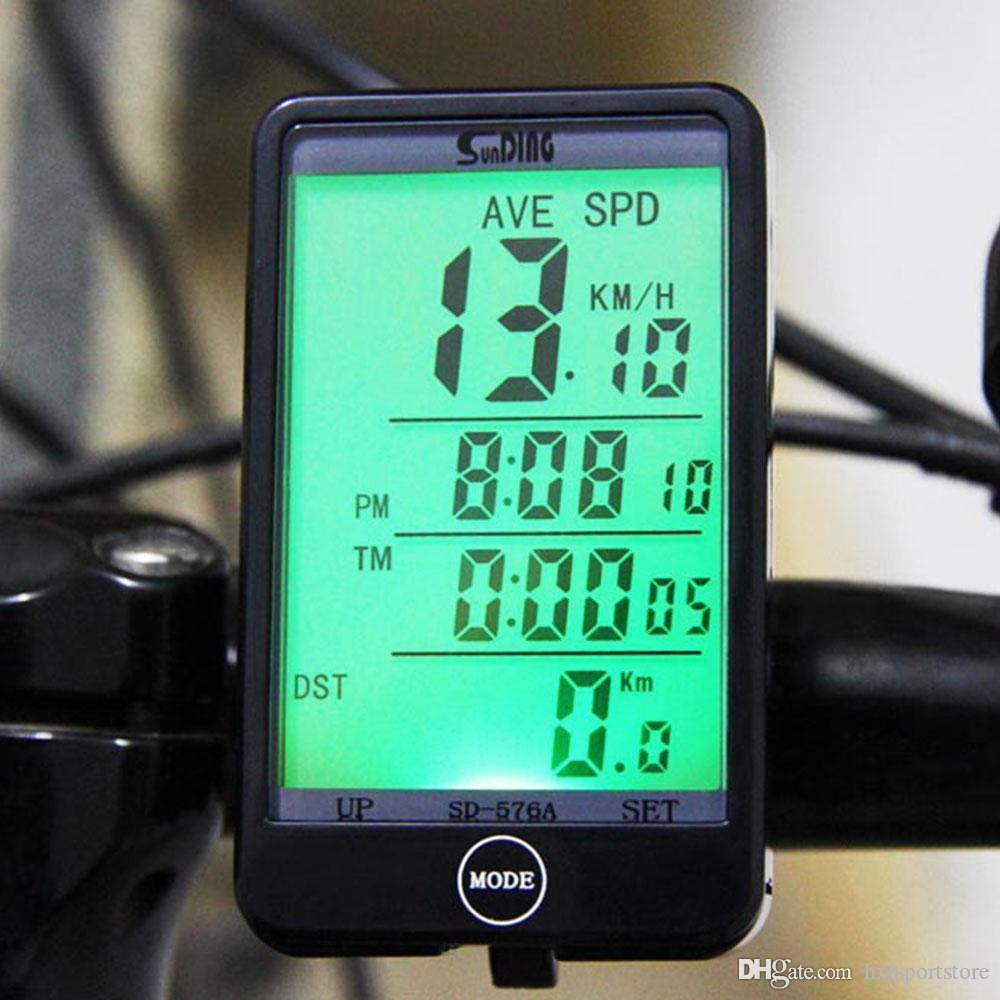SD Sunding - 576A Işık Modu Dokunmatik Kablolu Otomatik Bisiklet Bilgisayar Bisiklet Kilometre Kilometre sayacı Kronometre LCD Arka HXL ile