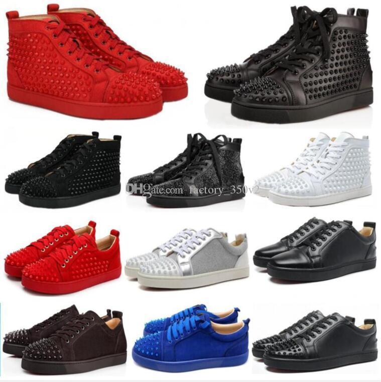 NOUVEAU Designer Red Sneakers chaussures haut en bas Low Cut Chaussures de luxe de Suede Chaussures pour hommes et femmes Party sneakers en cuir de cristal de mariage