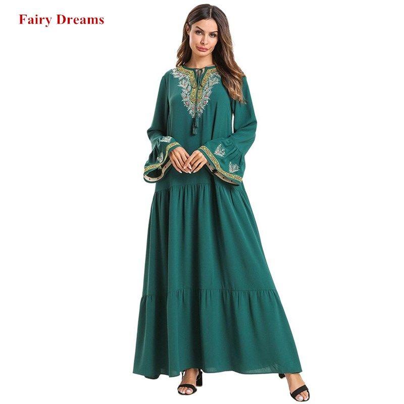 Women Abaya Turkish Dubai Turkey Kimono Green Muslim Dress Kaftan Bangladesh Arab Robe Islamic Plus Size Clothing 4XL Dresses