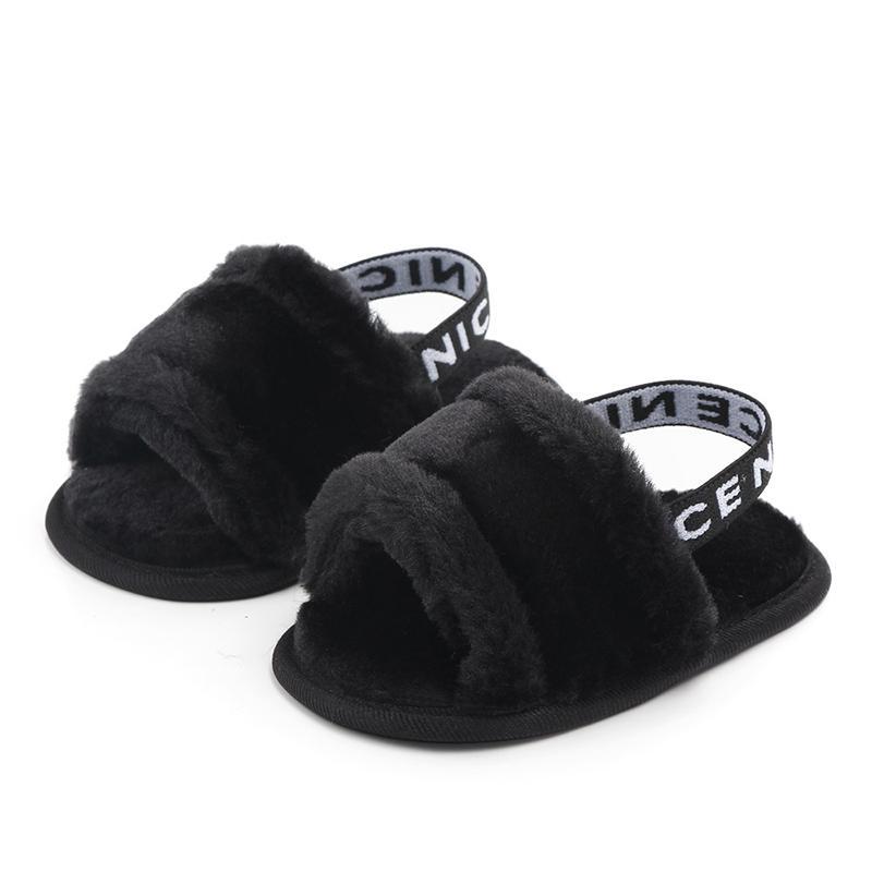 أحذية الأطفال حديثي الولادة طفل بنات طفل صندل الشتاء الخريف 3 نمط الفراء صلب مسطح مع الزي كعب 0-18M الرضع أحذية أطفال 1
