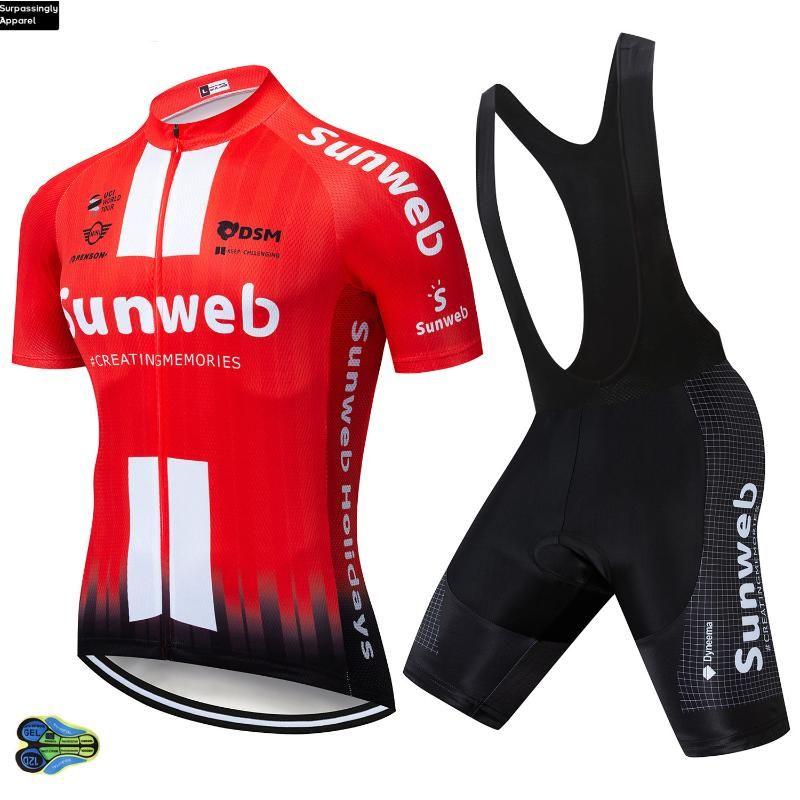 UCI Команда 2020 Sunweb красных задействуя Джерси велосипед шорты Комплект MTB Мужского Ropa Ciclismo Велоспорт одежда Летней Велосипед Майо Culotte 12D