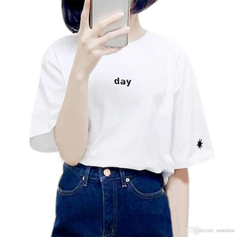2018 Новый летний стиль Женская футболка в стиле Harajuku День Ночь Вышивка Женская футболка с короткими рукавами Sun Moon Sisters Tops Tee