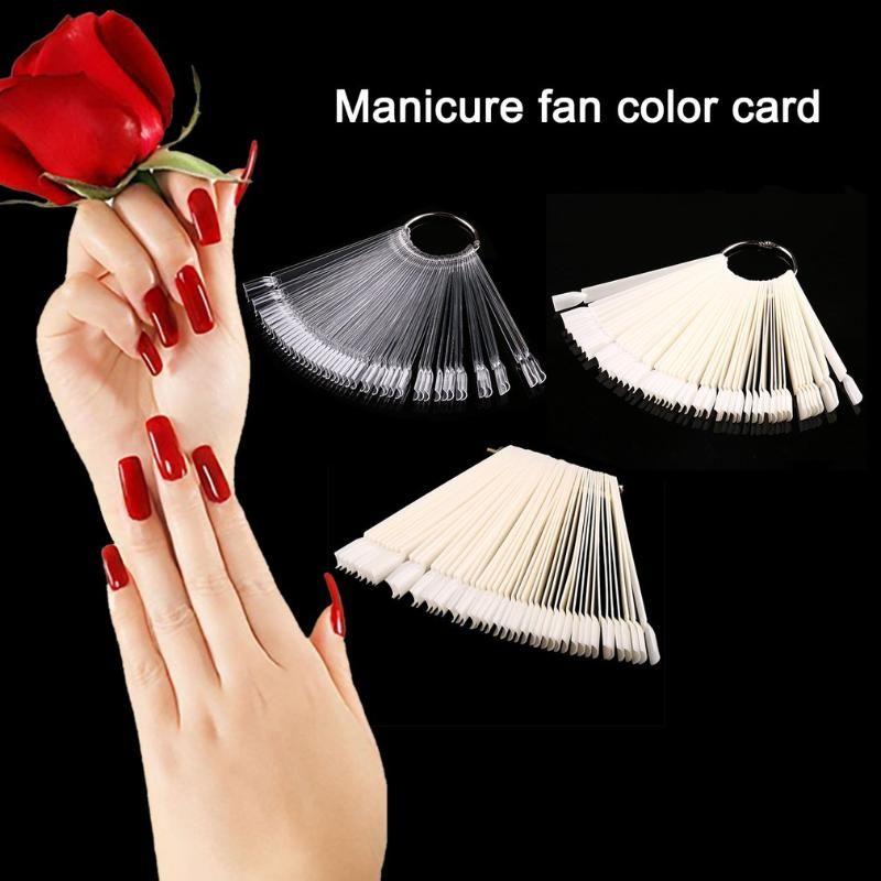 False Display Nail Art Fan Wheel Polish Practice Tip Sticks Nail Art Tips Sticks Polish Display Fan Nails Makeup Tools 50pcs/Set