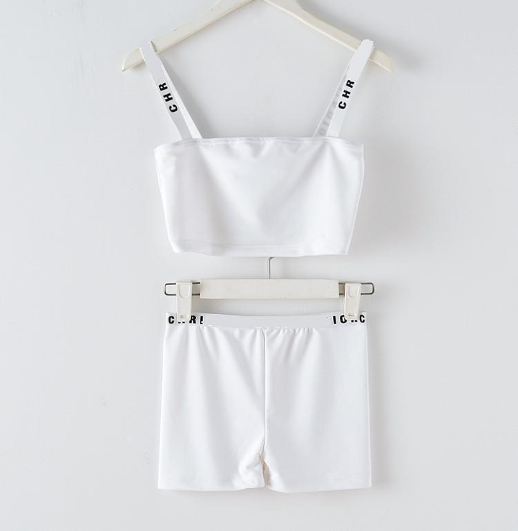 2020 Neues Design Damen-Sterne gleichen Stil Runway Mode Logo Buchstabedruckes Isolationsschlauchbügel-Kurz up-Nabel Erntespitze Weste Bustier und kurze Klage