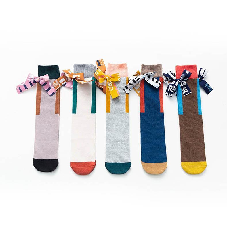 2020 nova moda bowknot meninas meias de algodão do bebê meias Casual Kids Socks meninas princesa joelho malha alta meias meias de designer B592
