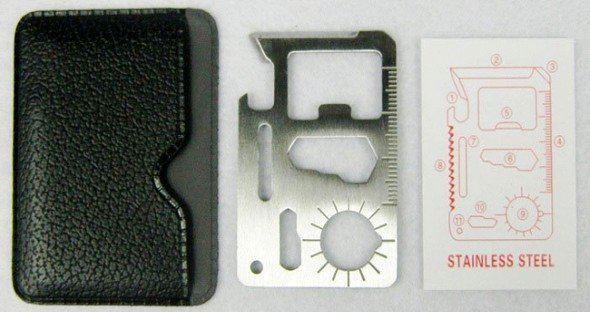 Frete Grátis 6 cm 11 em 1 Bolso Sobrevivência Camping Ferramenta com Estojo De Couro 11 Função Faca Cartão Ao Ar Livre