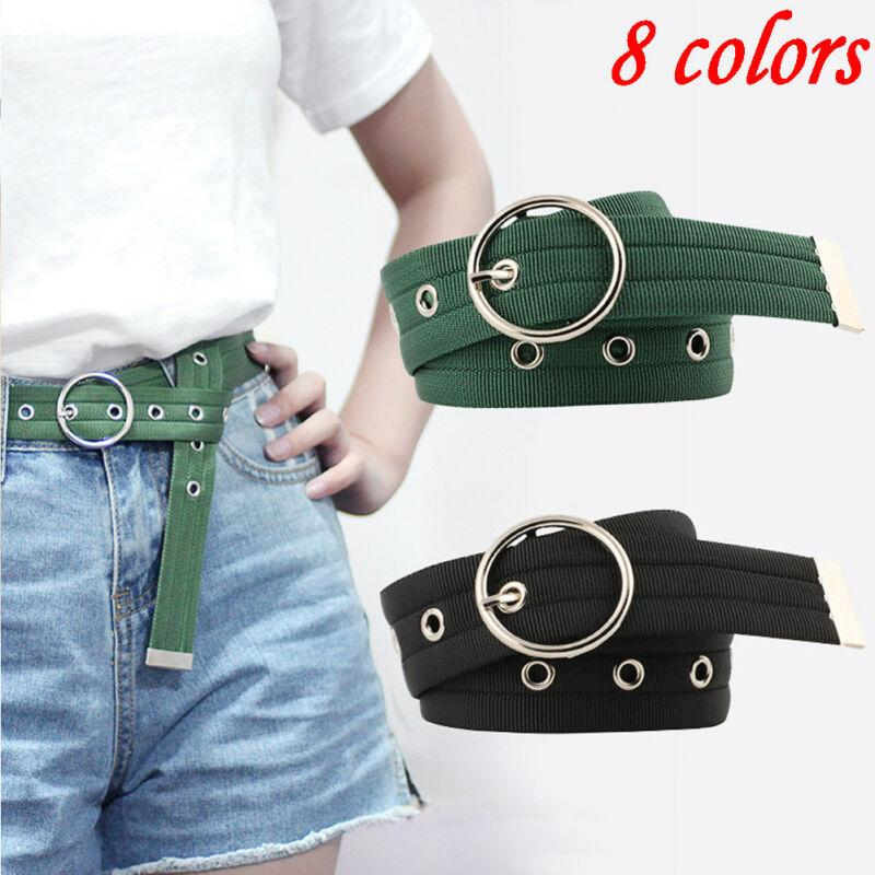 Fashion Women Lady Round Buckle Waist Belt Thin Practical Skinny Waistband Strap