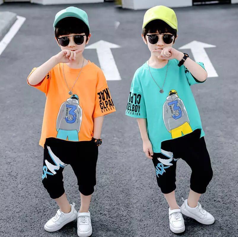 neue Kindersportbekleidung ein Haarersatz Kinder Klage 2020 Sommerabnutzungsjungen chinesischen Baumwolle Kinder kurze Hülse Han bianchao