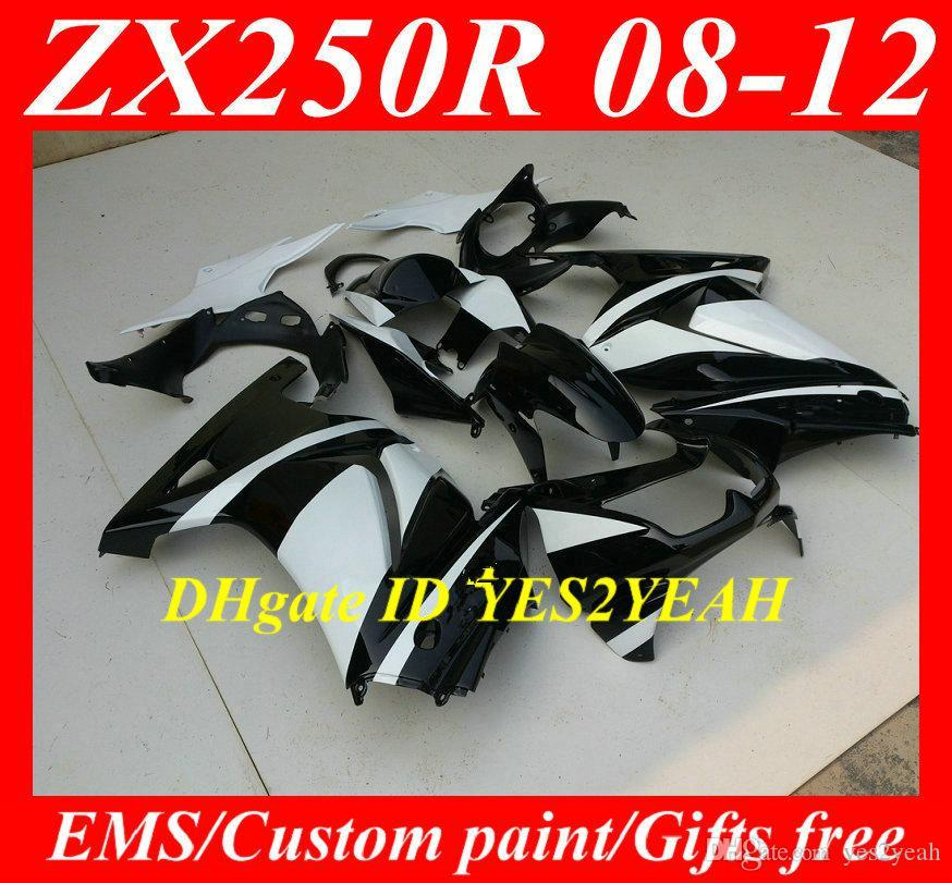 Kuiken Carrosserie voor Kawasaki Ninja ZX250R ZX 250R 2008 2012 EX250 08 09 10 11 12 White Black Fackings Body Kit KH82