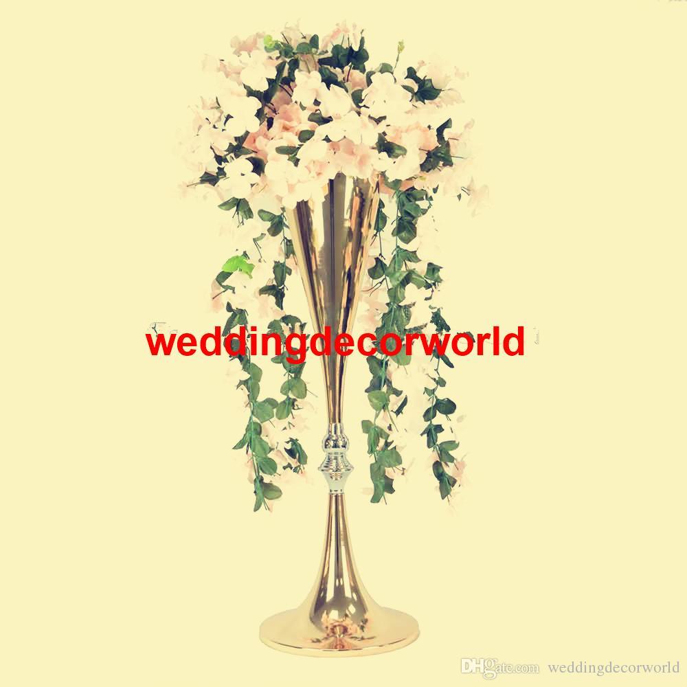 Tall Gold Wedding Flower Vase Bling Table Pièce maîtresse Mousseux Décoration de mariage Banquet Route En Plomb decor260