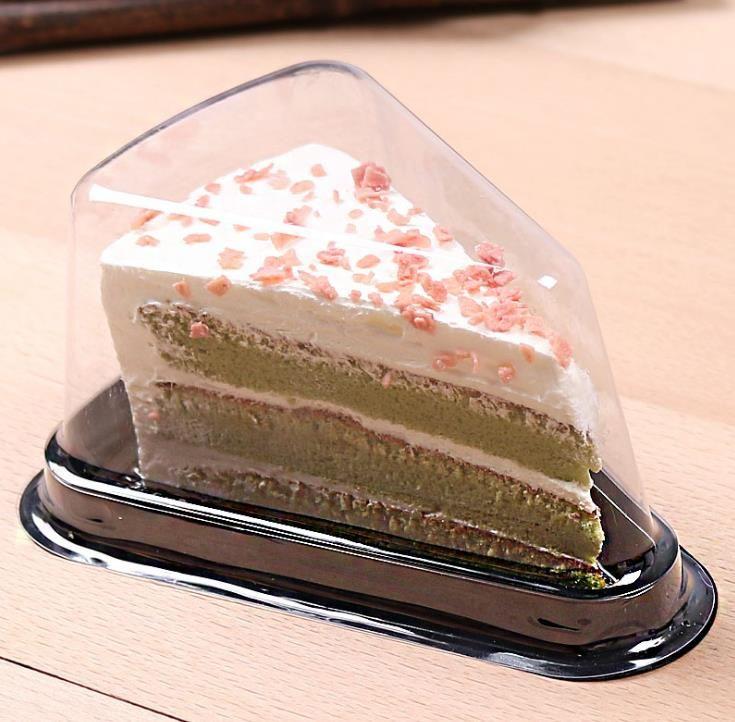 Caja de pastel de plástico transparente Cajas de queso al por mayor con tapa rebanada Pastel de pastel Favor de boda Favor de embalaje SN434