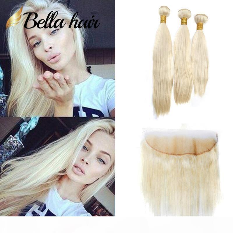 Bella Haar? 10A Honey Blonde Indian gerade Menschenhaar-Webart-Bundles mit 13 * 4 Frontal Verschluss mit Baby-Haar Blonde Verlängerung # 613 4pcs lot