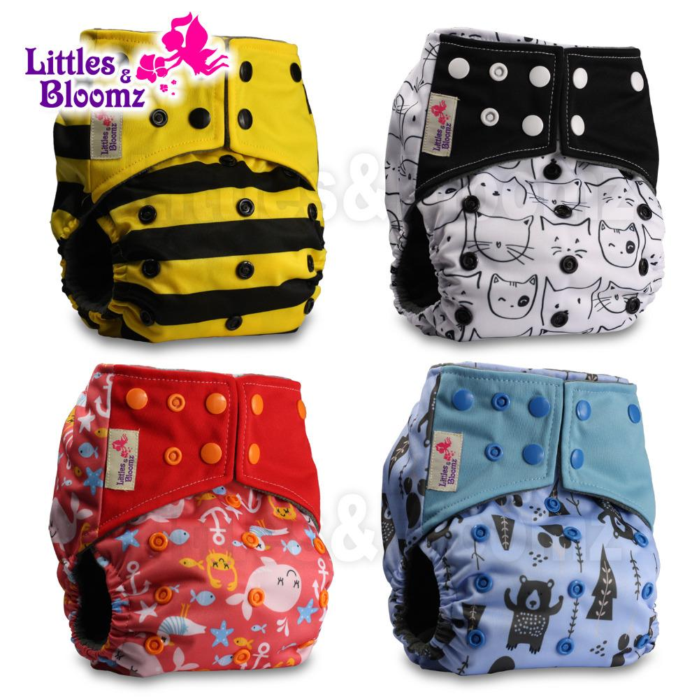 Pattern 7 Without Insert Reusable Pocket Real Cloth Nappy Washable Diaper Bamboo Charcoal Littles /& Bloomz