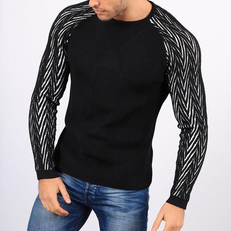 Maglione fatto a maglia Moda girocollo manica lunga sottile casuale del Mens Abbigliamento autunno Mens Paneled