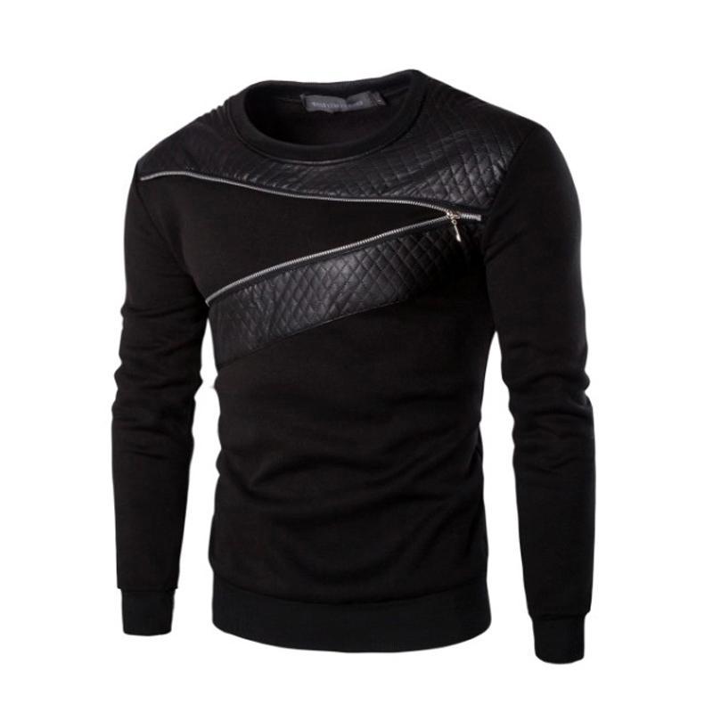 Fermeture à glissière style T-shirt des hommes en cuir Patchwork T -Shirt Plus Size » Masculine Top T-shirts Hommes Hip Hop Vêtements